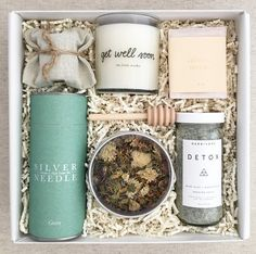 The Get Well Soon Gift Box! Autumn facial steam by Fig & Yarrow Cylinder of green tea by Silver Needle Tea Co Detox bath salts by Herbivore Botanicals Get Well Soon candle in chamomile scent by The Little Market Lavender and Oatmeal calming soap by Saipua Lavender infused honey with honey stick