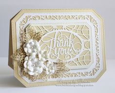 Designs by Marisa: Thank You Card - Noble Ornate Pierced Rectangles, Thank You Camellia Complete Petals, Masic Leaves
