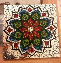 Items similar to Mosaic mandala, shown. Mosaic Wall Art, Mosaic Diy, Mosaic Crafts, Mosaic Glass, Mosaic Tiles, Glass Art, Stained Glass, Mosaic Designs, Mosaic Patterns