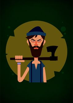 woodman flat vector cartoon