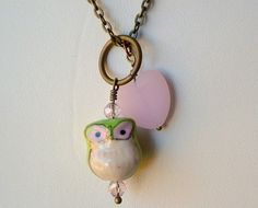 Owl Porcelain Necklace Jewelry Green and Pink by RhondasTreasures, $21.00