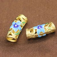 Sterling Silver Cloisonne Curved Tube Beads real gold plated hollow Approx 3.5mm Sold By Lot
