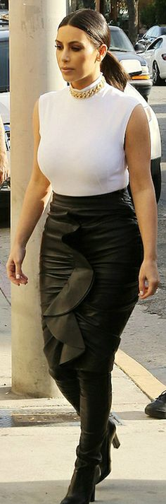 Kim Kardashian in Givenchy's Ruffled Leather Skirt YOU CAN FIND THE SAME SKIRT ON EBAY