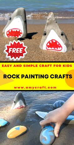 Stone-Cold Shark Painted Rocks - Easy Popsicle Crafts for Kids. Click to Find the Tutorial Here! #DIY #Popsicle #Craft Popsicle Crafts, Fish Crafts, Rock Crafts, Shark Painting, Pebble Painting, Love Painting, Creative Arts And Crafts, Easy Crafts For Kids, Creative Kids