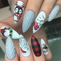 Sweater and Christmas penguin nail design! Adorable festive hand painted nails by @thenailroomyyc  Ugly Duckling Nails page is dedicated to promoting quality, inspirational nails created by International Nail Artists  #nailartaddict #nailswag #nailaholic  #nailart  #na