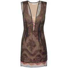 Preowned Stella Mccartney Embroidered Organza Dress 38 - 2 **liv Wore... ($1,500) ❤ liked on Polyvore featuring dresses, vestido, short dresses, brown, scallop trim dress, scalloped dress, organza dress, see-through dresses and red carpet dresses