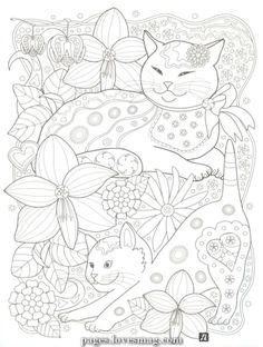 Cat coloring page Dog Coloring Page, Cute Coloring Pages, Printable Adult Coloring Pages, Animal Coloring Pages, Coloring Pages To Print, Coloring Books, Coloring Sheets, Diy Y Manualidades, Cat Colors