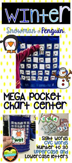 This winter themed pocket chart activity is sure to be a hit with your kindergarten and 1st grade students! It is perfect for math and literacy centers. Students can play this fun game to practice skills such as: alphabet, uppercase & lowercase letters, numbers to 30, CVC words, and sight words. Between all of the math and phonics options, students will keep begging you to play it again and again! #fromkindergartenwithlove #kindergarten #1stgrade #literacycenters