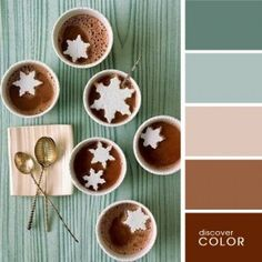 Love this color palette ~ Slate blue, dusty blue, dusty pink, light brown and rusty brown