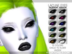 Black Scleras eyes with colorful glow. Found in TSR Category 'Sims 4 Female Costume Makeup'