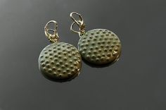 Pale Green Golden Earrings Dotted Gold plated by VanillaBeautiful