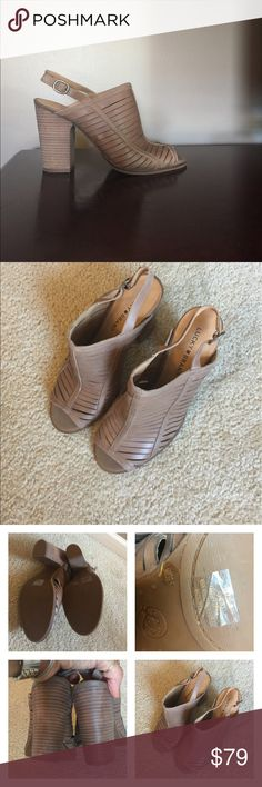 Lucky brand like NEW Open sling back Lucky brand open toe sling back sandal like NEW too snug for me. Reasonable offers are welcome color is called mushroom which is a taupe tan a GREAT neutral. Lucky Brand Shoes Sandals
