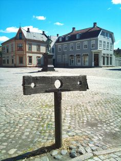 The old pillory by the square of the old town (Gamelbyen) and Fortress of Fredrikstad, Norway.