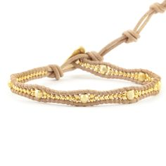 Chan Luu - Gold Mix Single Wrap Bracelet on Beige Leather, $90.00 (http://www.chanluu.com/bracelets/yellow-gold-bead-single-wrap-bracelet-on-beige-leather/)