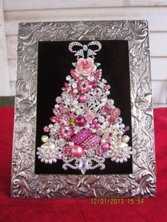 Framed Jewelry Christmas Tree Rhinestone Pearls  8 x 6 Pinks | eBay $36