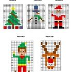This is a set of 5 mystery pictures that are made by coloring in the correct squares on the grid using the colors and coordinates given. Each pic. Christmas Math, Christmas Knitting, Christmas Activities, Christmas Cross, Rudolph Christmas, Christmas Tree, Christmas Lights, Cross Stitch Charts, Cross Stitch Patterns