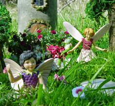 Now doesn't this look like fun?  two little fairies are frolicking in our miniature fairy gardens.