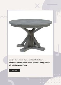 Explore the brilliant styling and comfort of our Alamosa Rustic Teak Wood Round Dining Table with X-Pedestal Base. #diningroom #interiordesign #homedecor #interior #livingroom #diningroomdecor #diningtable #furniture #home #design #decor #kitchen #bedroom #homedesign #interiors #diningroominspo #livingroomdecor #furnituredesign #interiordesigner #diningroomdesign #dining #decoration #kitchendesign #table #interiorstyling #customfurniture #largetable #solidwood #roundtable #round Grey Round Dining Table, Large Table, Dining Room Table, Dining Chairs, Hardwood Table, Interior Livingroom, Dining Room Design, Teak Wood, Custom Furniture