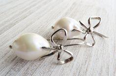 Baroque pearl earrings dangle earrings sterling by Sofiasbijoux