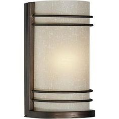 Illumine 1 Light Wall Sconce Antique Bronze Finish Umber Linen Glass-CLI-FRT5523-01-32 at The Home Depot