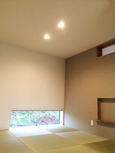 照明はダウンライト Washitsu, Zen Room, White Wreath, Japanese House, Minimalist Living, Old And New, Indoor, Ceiling Lights, Architecture