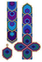 Eye-catching! Peacock Plume Bracelet and Earring Set at Sova-Enterprises.com #beading #craft #imagination