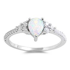 Sterling Silver White Opal Teardrop CZ Accented Ring – Sparkle & Jade