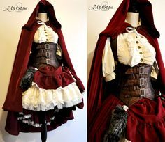 Little red riding hood steampunk by My Oppa by myoppa-creation dress cloak corset costume cosplay LARP equipment gear magic item | Create your own roleplaying game material w/ RPG Bard: www.rpgbard.com | Writing inspiration for Dungeons and Dragons DND D&D Pathfinder PFRPG Warhammer 40k Star Wars Shadowrun Call of Cthulhu Lord of the Rings LoTR + d20 fantasy science fiction scifi horror design | Not Trusty Sword art: click artwork for source