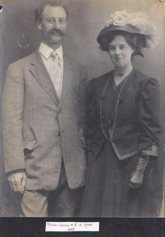 Marian Leman and her husband Edward Moore, at time of wedding, 1908