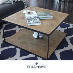 BROOKLYN Parquet Wood & Metal Square Coffee Table Style My Home Sydney Australia Hamptons Coastal Country