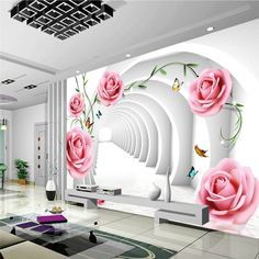 Living Room Tv Unit Designs, Bed In Living Room, Living Room Decor, Bed Room, 3d Wallpaper Decor, Room Wallpaper, Custom Wallpaper, 3d Wall Decor, Wall Stickers Home Decor