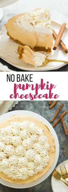 These No Bake Pumpkin Cheesecake is so easy, smooth and silky -- the perfect easy dessert for a fall supper or Thanksgiving! Includes step by step recipe video | easy dessert recipe | no bake dessert | thanksgiving | fall | thanksgiving dessert #pumpkinrecipe #pumpkindessert #thanksgiving