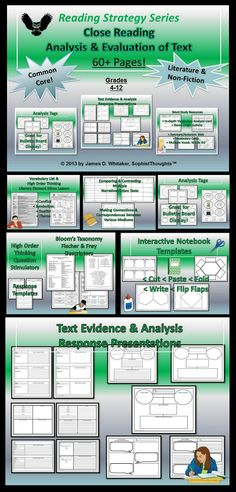 Close Reading and Critical Analysis of Text -- 60+ Pages of Resources! Help your students Interpret, Analysis, Synthesize, & Evaluate Fiction and Non-Fiction Texts!