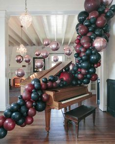 Haunted Piano with Balloon Garland halloween rose gold dinner party balloon decorations piano Balloon Decorations Party, Balloon Garland, Balloon Arch, Halloween Decorations, Balloon Ideas, Halloween Ideas, Balloon Chandelier, Balloon Wall, Spooky Halloween