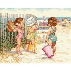Adorable sampler features three toddlers in swim suits, hats and sunglassesNeedlework kit includes: Thread, 14-count Aida, sorter, needle and instructionsFinished size of counted cross stitch set measures 14 inches wide x 11 inches high