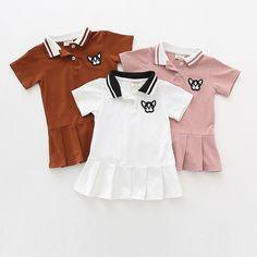 Jane Z Ann Toddler Girls Polo Dresses Baby Straight Dress Lovely Dog Clothes Design Children White Pink Dress Tiny Cottons. Baby Girl Dresses, Baby Dress, Pink And White Dress, Pink Dress, Girl Dog Clothes, Polo Shirt Girl, Polo Outfit, Straight Dress, Korean Fashion