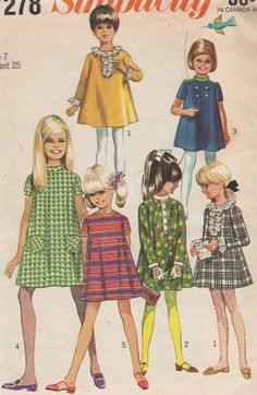 1967 Girls' Dress With Detachable Neck and Sleeve Trims Simplicity 7278 Size 7 Breast 25""