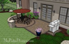 Brick Patio with Circle Paver Pattern   Patio Designs and Ideas.  I like the pad for the grill.