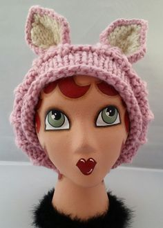 Chunky Knit Fox Hat Slouchy Hat Hand Knit Hat by ThatGirlKnitz, $30.00