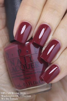 We the Female is a deep garnet red cream nail polish / lacquer from the OPI Washington DC Col. : We the Female is a deep garnet red cream nail polish / lacquer from the OPI Washington DC Collection for Fall / Winter 2016 Anne Thompson, Opi Nail Colors, Fall Nail Colors, Opi Nail Polish, Opi Nails, Nail Polishes, Bling Nails, Cute Nails, Pretty Nails, Cream Nails