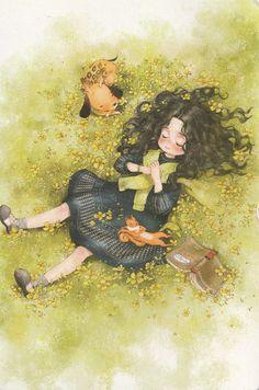 Cartoon Girl Drawing, Cartoon Art, Forest Girl, Arte Sketchbook, Digital Art Girl, Girl And Dog, Anime Kawaii, Anime Scenery, Cute Illustration