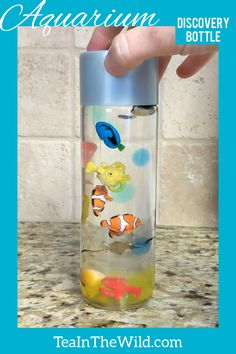 This is a fun discovery bottle with tiny sea creatures suspended inside. This is a fun discovery bottle with tiny sea creatures suspended inside. Sensory Bottles Preschool, Sensory Bins, Sensory Activities, Infant Activities, Sensory Wall, Sensory Boards, Sensory Bottles For Toddlers, Winter Crafts For Kids, Diy Crafts For Kids