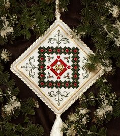 """No-cut Hardanger pattern for """"Holly Quilt Block"""" from The Victoria Sampler - Free Patterns"""