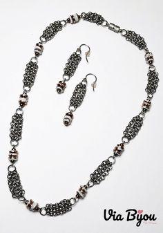 Handmade jewelry and author's models Gold Set, Handmade Jewelry, Beaded Necklace, White Gold, Silver, Fashion, Beaded Collar, Moda, Handmade Jewellery