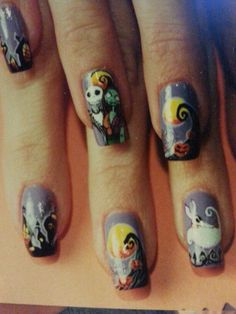 Nightmare before Christmas nail art by susan tumblety