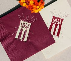 Lilly and Sean: Brooklyn Bridge printed cocktail napkins