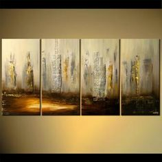 Image result for skyscraper painting long panels