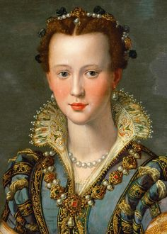 Portrait of Maria de' Medici (1540-1557) or Eleonora di Garzia di Toledo (1553–1576) by Alessandro Allori (detail)