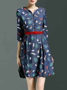Blue A-line Printed Casual Mini Dress