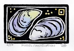 Mussel Constellation Hand Pulled Linoleum Block by ColorOnPaper, $20.00